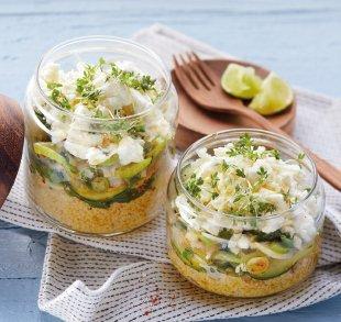 Gemüse-Couscous mit Holzlakenkäse