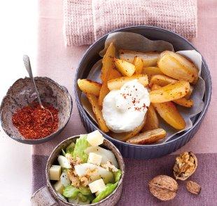 Rezepte, Rüben-Wedges und Birnen-Sellerie-Salat mit Hofschnittkäse