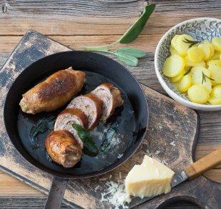 Rezepte, Gefüllte Kalbfleischröllchen mit Hofhartkäse